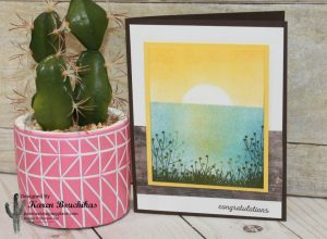 Sunset Landscape card created using sponge brayer