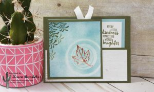Water Ripple pull out card using sponge brayer. Tips to create this card include using the Layering Circle framelits to create the circles and using the stamparatus to line up the sentiment