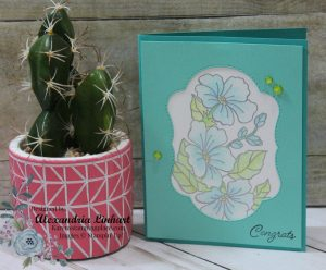 A fun cut out layer reveals a stamped floral image that has been colored with watercolor pencils and blended with the blender pens.