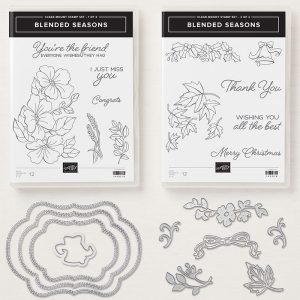 Blended Seasons Bundle- comes with stamps and framelits perfect for year round stamping and crafting.