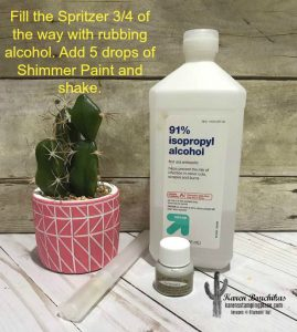 Fill the Spritzer 3/4 of the way with rubbing alcohol. Add 5 drops of Shimmer Paint and shake.