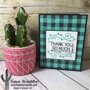 This pretty thank you card uses Basic Black cardstock and Coastal Cabana cardstock and has the Champagne Mist shimmer paint spritzed over the Coastal Cabana layer.