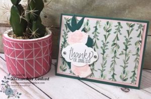 This card and the card above uses the Frosted Floral Specialty Designer Series Paper which has been printed on to shimmery white paper. This makes the paper appear frosted and shimmery.