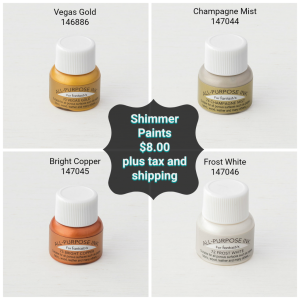 Shimmer Paints, Vegas Gold, Champagne Mist, Bright Copper, and Frost White