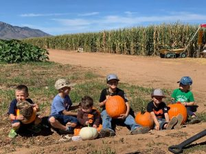 All of my grandkids picking out their pumpkins!