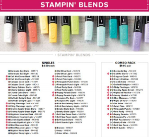 Here are all of the blends from the Annual catalog! Note that there are NEW colors in the Holiday Catalog.
