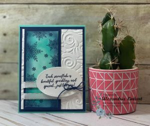 I used the Snow is Glistening for this winter card. I love snowflakes and this stamp set has such pretty snowflakes and sentiments to work with any project.