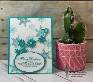 This fun project uses Bermuda Bay and generational stamping to create a perfect holiday blizzard.